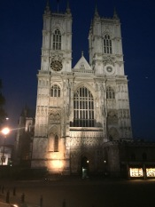 The front of Westminster Abbey lit up at night