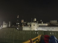 The Tower of London as seen from a tour bus at night