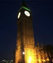 Big Ben illuminated from the bottom at night