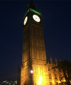 Big Ben illuminated from the bottom at night