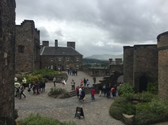 A cobbled path leads to different buildings in Edinburgh Castle