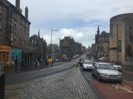 The Royal Mile in Edinburgh stretches up towards the Castle