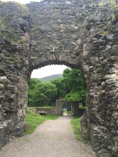 An archway leading out of the courtyard of Inverlochy Castle