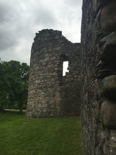 A crumbling tower on the corner of Inverlochy Castle
