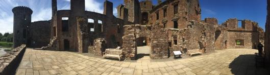 The ruined interior of Caerlaverock Castle