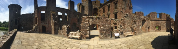 The ruined interior of Caerlaverock Castle