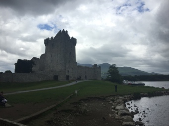 Ross Castle sits on a small hill near a lake