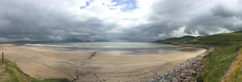 A white sand beach on a cloudy day in Ireland