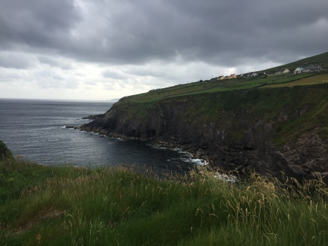Irish countryside ends abruptly in cliffs that drop down into the ocean