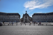 The Place de la Bourse and the fountain in the plaza in Bordeaux