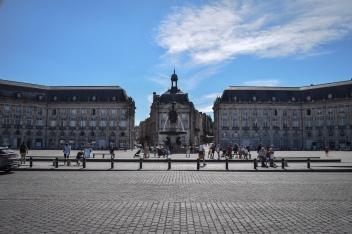 The Place de la Bourse and the fountain in the plaza in Bordeaux