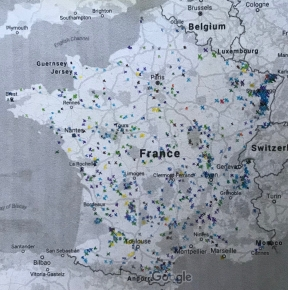 A map with carefully plotted exes marking the location of castles all over France