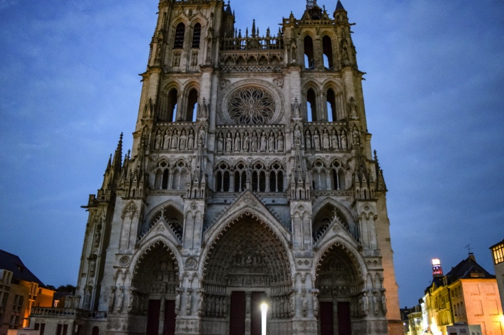 The front of the UNESCO rated Amiens Cathedral at dusk
