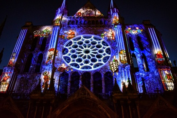 One side of the cathedral in Chartres lit up for the nightly light show