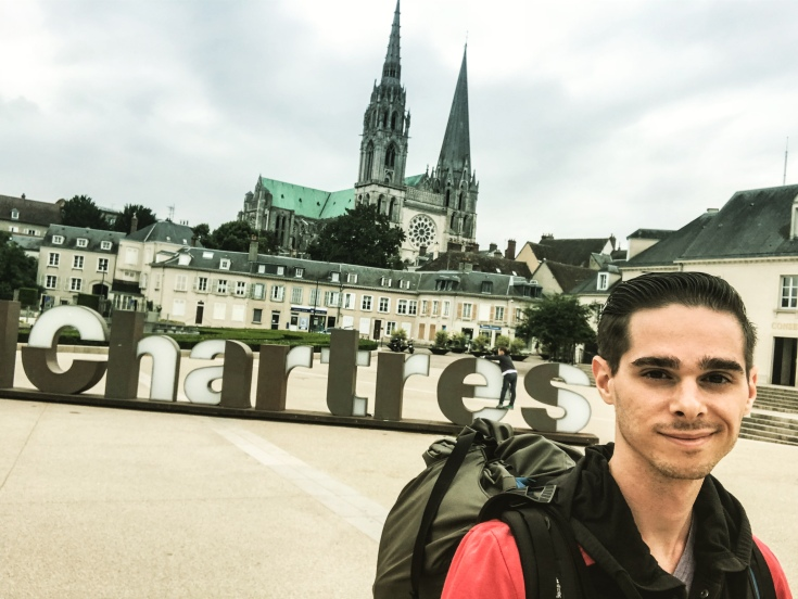 Instagram photo of myself before the #chartres sign and the Chartres Cathedral