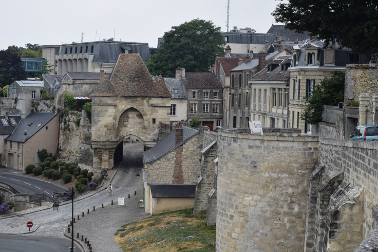 The ramparts and an ancient 13th century gate in Laon