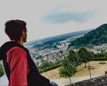 Instagram photo of myself sitting on the ramparts in Laon