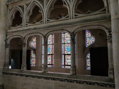 The stained glass windows of the chapel in the chateau de Pierrefonds where Merlin was filmed