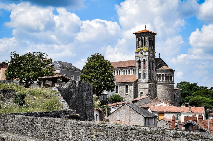 The Eglise Notre-Dame from the ramparts of the chateau de Clisson