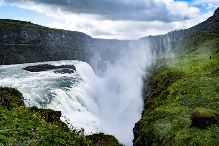 Mist shrouds much of the gorge that Gullfoss roars into