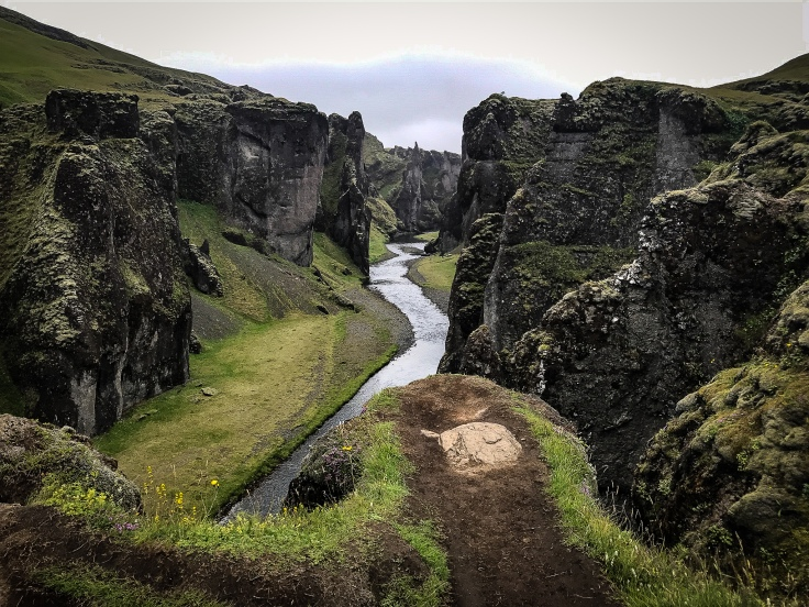 A lookout point over a gorge cut by a river in Iceland