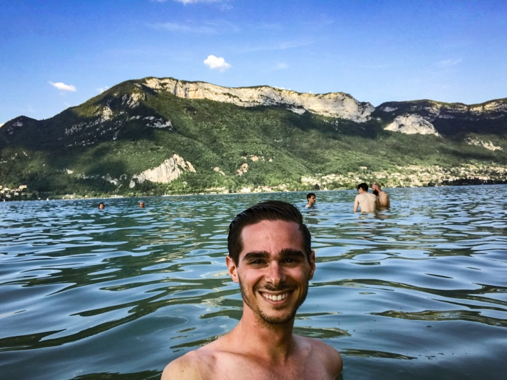 Me swimming in Lake Annecy during the summer