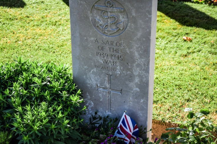 A tombstone says a sailor of the 1939-1945 war in the Bayeux War Cemetery