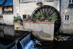 One of two ancient watermills on l'Aure in the old town in Bayeux